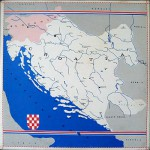Mapa NDH. The map of 1940s Croatia.
