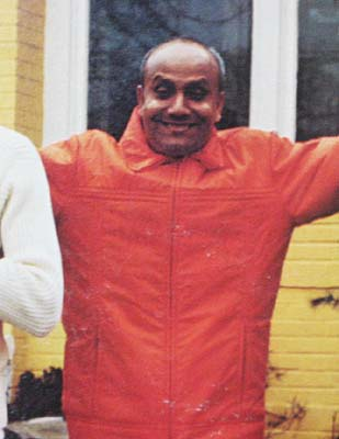 Sri Chinmoy wearing a ski jacket