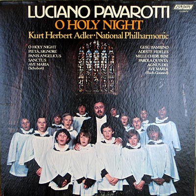 Luciano Pavarotti with boys choir record cover.