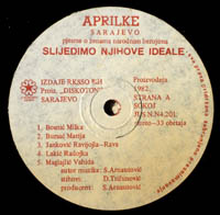 "Vocal group ""Aprilke"" record."