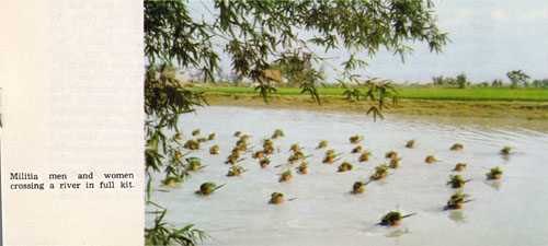 Chinese militia crossing a river