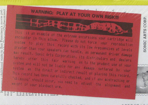 low frequency warning on a record from  Sonic Arts