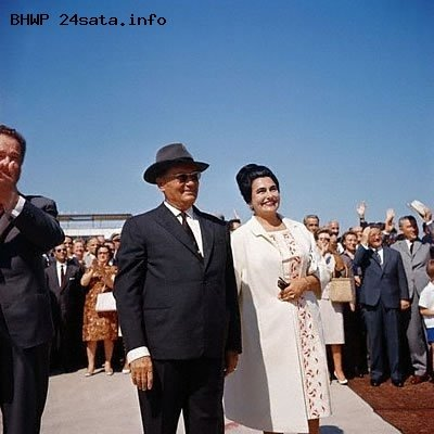 Josip Broz Tito and Jovanka Broz at Belgrade airport