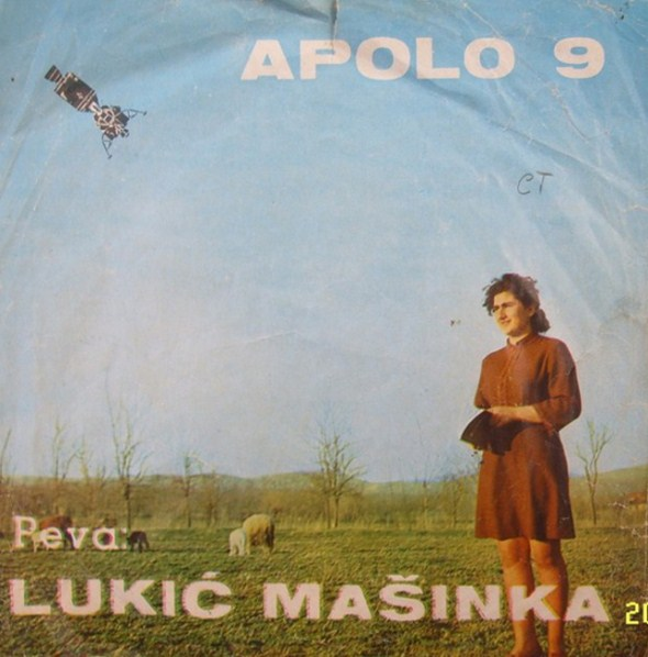 Apollo 9 landing among sheep in Serbia on the cover of Masinka Lukic's single.