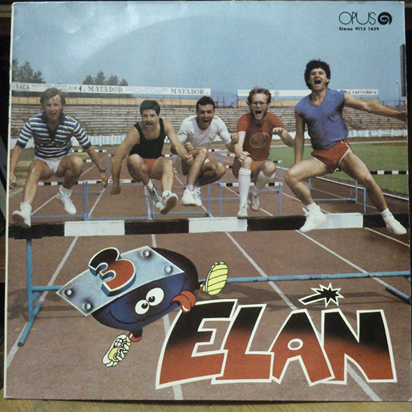 Slovakian band Elan jumping the hurdles on the cover of their album.